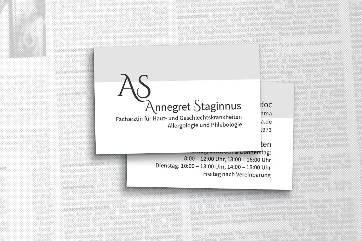 Grafikdesign Visitenkarten, Hautärztin Grimma, Annegret Staginnus