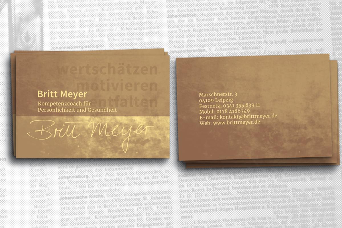 Grafikdesign, Visitenkartendesign Kompetenzcoach Britt Meyer