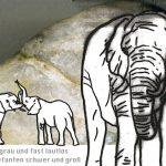 """Grafikdesign Kinderbuch (Ausschnitt), """"Der Elefant"""""""