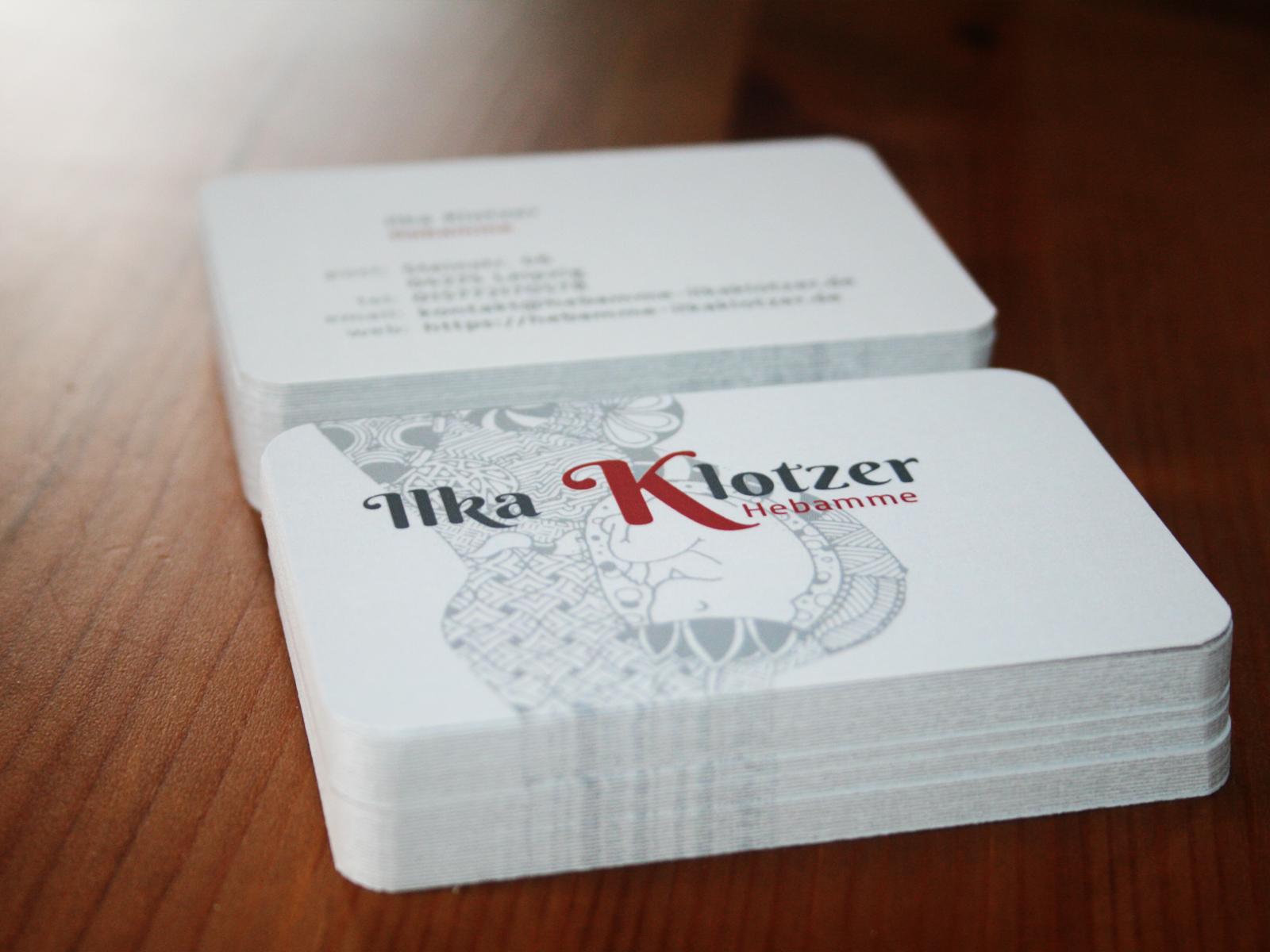 Grafikdesign Visitenkarten, Hebamme Leipzig, Ilka Klotzer
