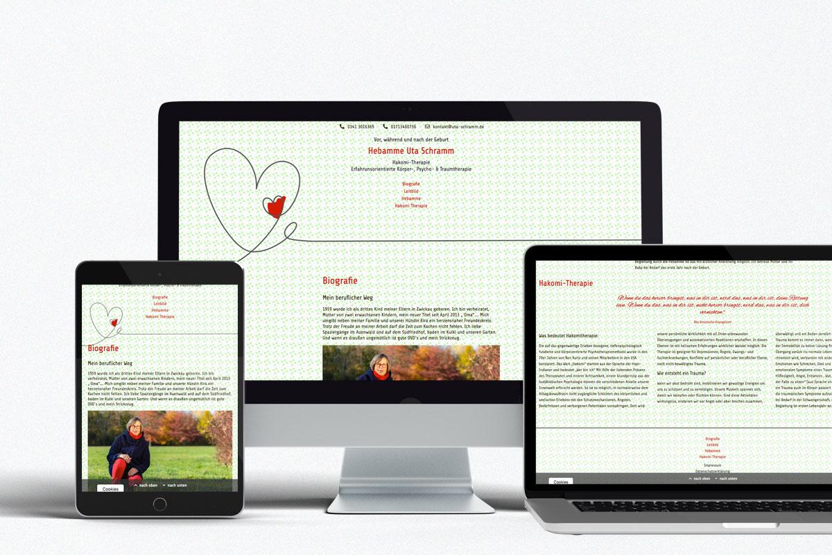Webdesign, Hebamme Leipzig, Uta Schramm
